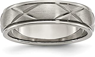 Jewels By Lux Titanium X-Design 6mm Satin Band
