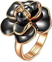 AllenCOCO Rose Flower Ring for Women 18K Gold Plated Black Or White Enamel Ring