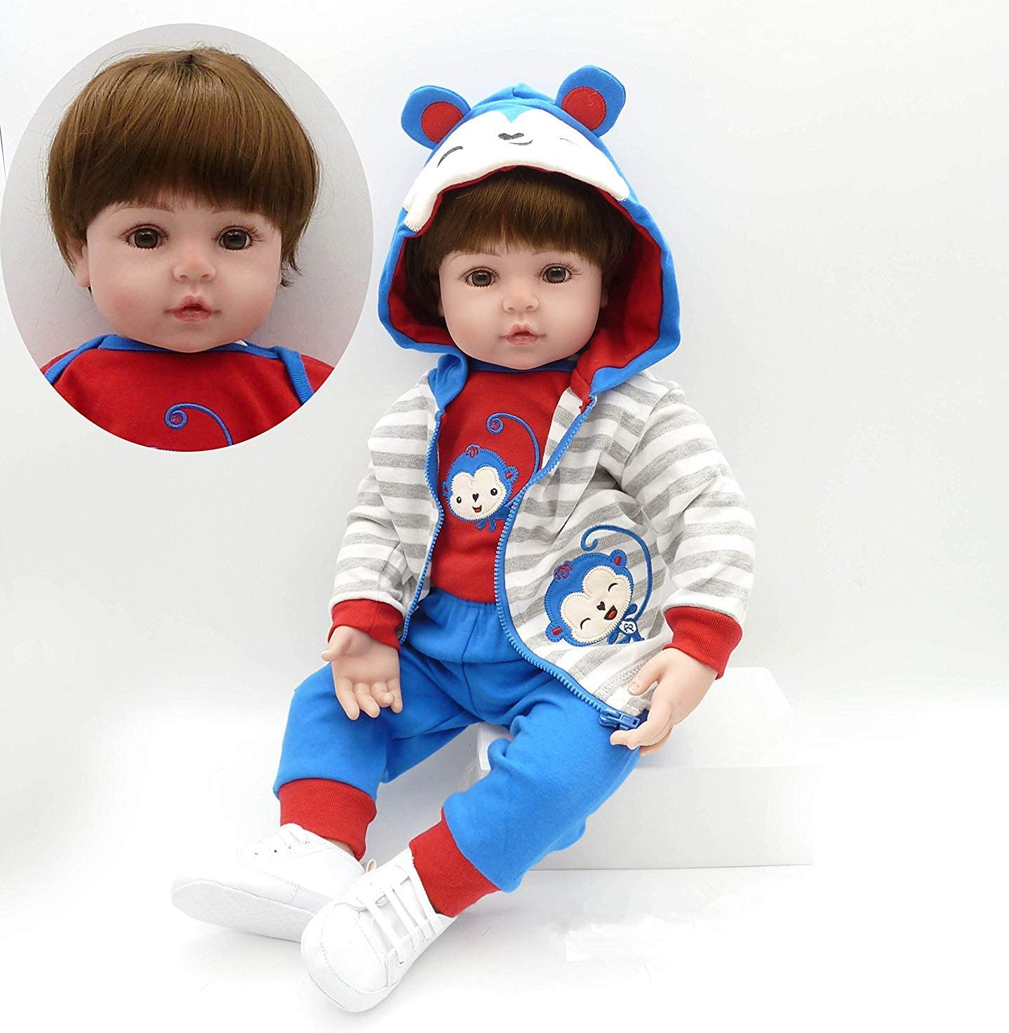 Inventory cleanup selling sale Lifelike Reborn Toddler Max 42% OFF Boy 22 inch Silicone Doll Bro Vinyl Baby