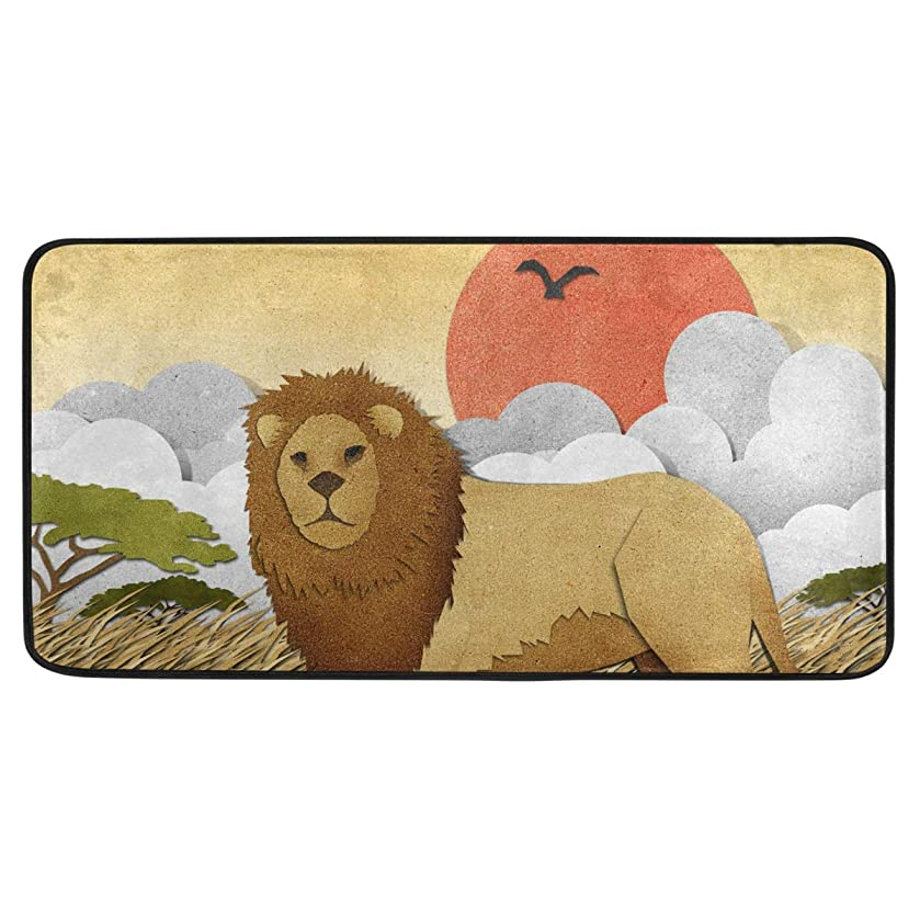 ALAZA Lion Standing Mat Kitchen Rug Mat, Anti Fatigue Comfort Flooring, Commercial Grade Pads, Waterproof, Ergonomic Floor Pad, Rugs for Office Stand Up Desk, 39x20in
