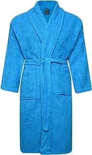 Adore Home Unisex 100% Cotton Terry Toweling Shawl Collar Aqua Bathrobe Dressing Gown