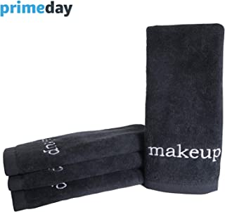 Truly Lou Luxury Black Makeup Removal Towel Set | Ultra Soft Cotton That's Gentle on Skin | Perfect for Face Wash and Removing Eyeliner, Mascara, Foundation | Machine Washable (Set of 4)