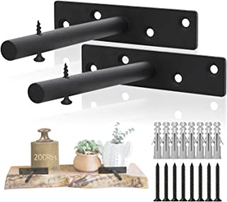 Floating Shelf Hardware, Concealed Brackets 6 Inch Heavy Duty Steel Black Metal Bracket Support for Blind Wall Mount Wood Shelves, Set of 2