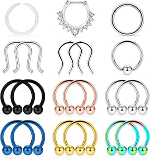 20Pcs 16G Surgical Steel Septum Nose Ring Hoop Horseshoe Barbell Cartilage Daith Earrings Tragus Clicker Retainer Body Piercing Jewelry for Women Men 10mm (3/8