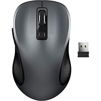 Wireless Mouse, RATEL 2.4G Wireless Ergonomic Mouse Computer Mouse Laptop Mouse USB Mouse 6 Buttons with Nano Receiver 3 Adjustable DPI Levels Cordless Wireless Mice for Windows, Mac (Black+Grey)