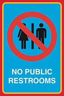 No Public Restrooms Print Picture Bathroom Restroom Office Business Sign Aluminum Metal