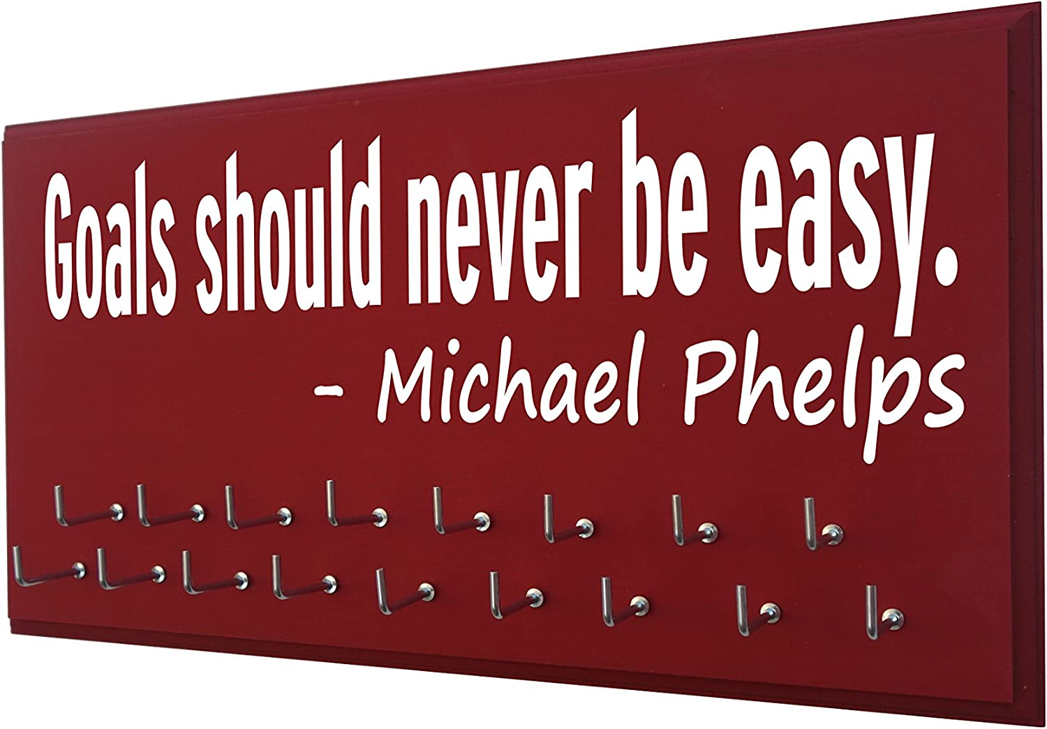 Michael Phelps Swimmer Gifts Swimming Gifts for Girls Goals Should Never BE Easy RunningontheWall Swimming Medal Holder Swimming Medals Ribbons Display Kids