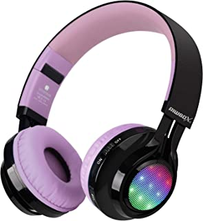 Bluetooth Headset, Riwbox AB005 Wireless Headphones 5.0 with Microphone Foldable Headphones with TF Card FM Radio and LED Light for Cellphones and All Bluetooth Enabled Devices (Black&Purple)