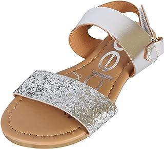 b8146b32826 bebe Girls Metallic Sandals with Chunky Glitter Strap (Little Kid Big Kid)