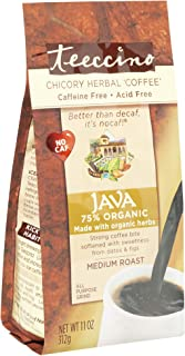 Teeccino Java Chicory Herbal Coffee Alternative, Caffeine Free, Acid Free, Coffee Substitute, Prebiotic, 11 Ounce