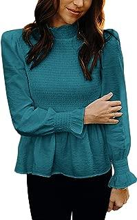Women's Summer Elegant Turtleneck Ruffle Long Pagoda Sleeve Solid Color Shirts Blouse Tops