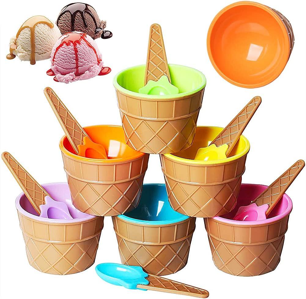 Tazón Helado,Cuenco de helado color caramelo,Juego de 6 cuencos de postre para helado y cucharas a juego,Colores lindos surtidos,6 Piezas