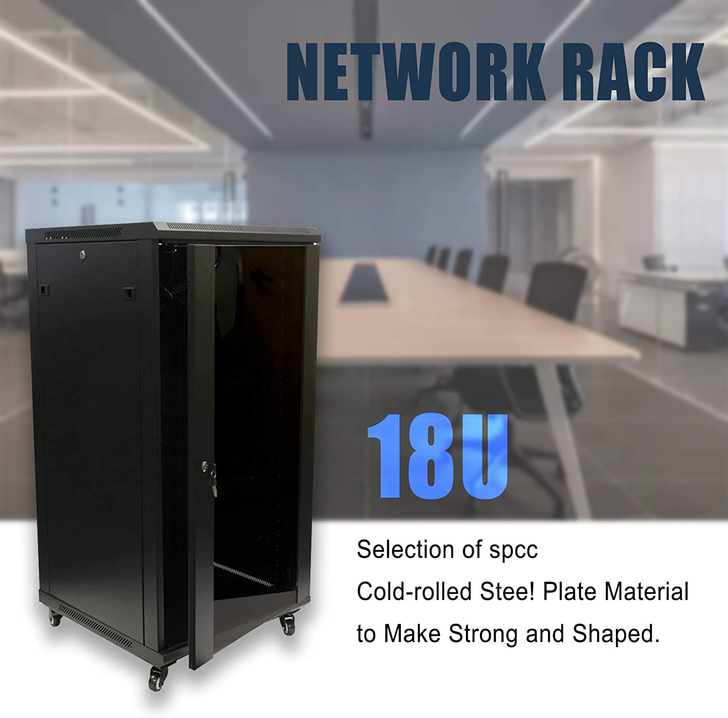 1 Set of 18U Network Server Data Cabinet Black Rack Glass Door Lock(Casters Included),Apply to Network Wiring Room,Computer Room,Data Room,Control Center,Home,Office,etc.