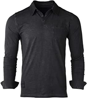 Mens Long Sleeve Vintage Henley Button Cuffs Pocket Polo T-Shirt