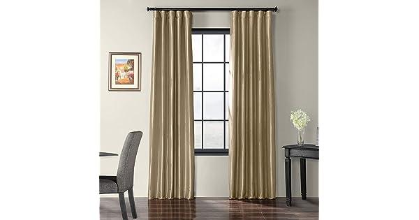 HPD Half Price Drapes PTCH-JTSP401-96 Faux Silk Taffeta Curtain 50 x 96 Tuscan Tan