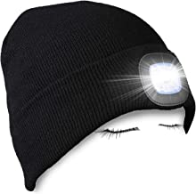 PRAVETTE Upgraded LED Lighted Beanie Hat,USB Rechargeable Hands Free Headlamp Cap,Unisex Winter Warmer Knit Hat with Light for Men,Women