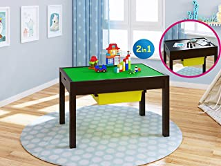 UTEX 2-in-1 Kid Activity Large Table with Storage for Older Kids, Play Table for Kids,Boys,Girls, Espresso