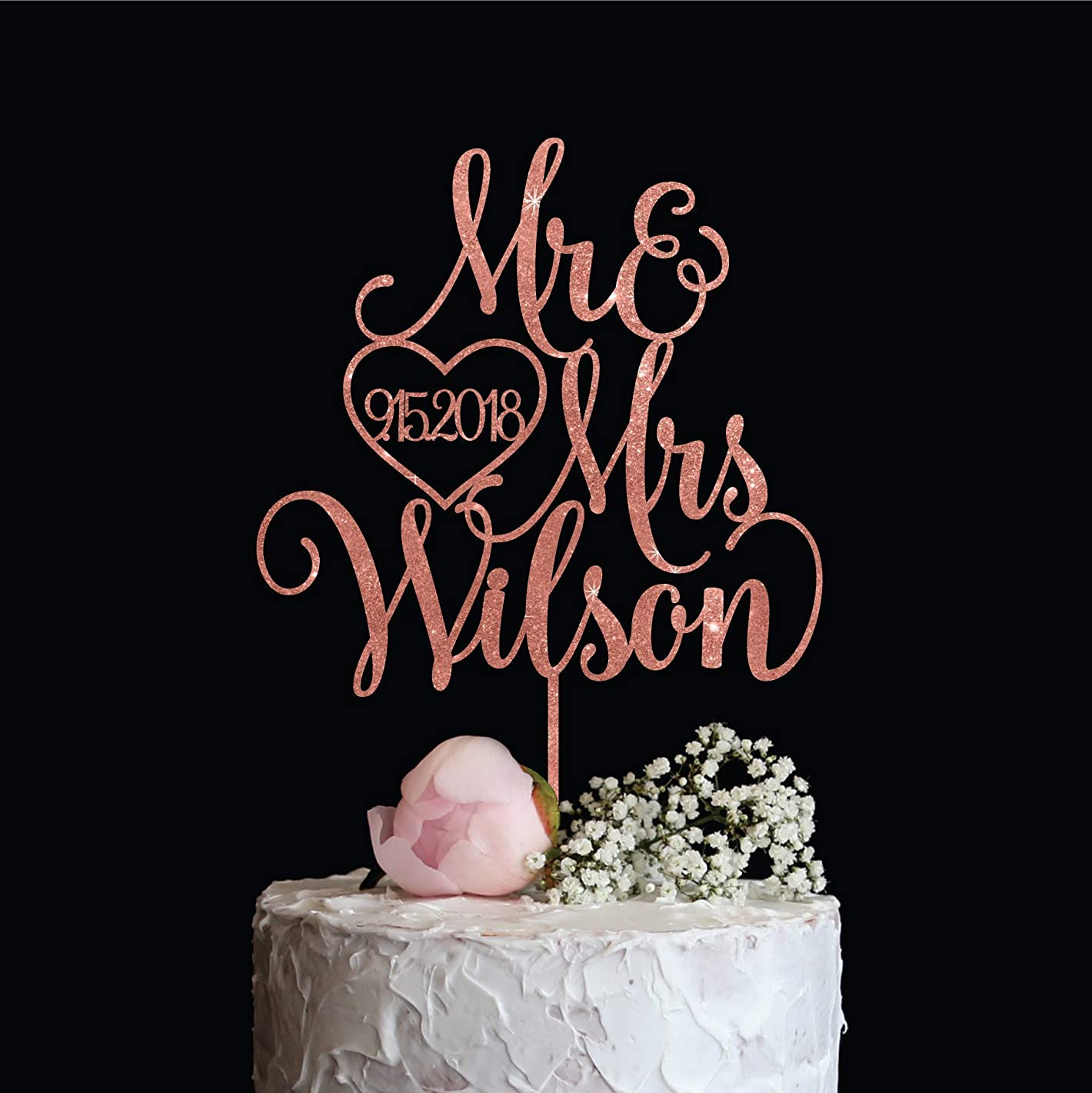 Rose Gold Mr & Mrs Wedding Cake Topper with Last name and Date, Elegant Custom Mr and Mrs Cake Topper, Personalised cake topper also available in Gold, Silver or Champagne Glitter