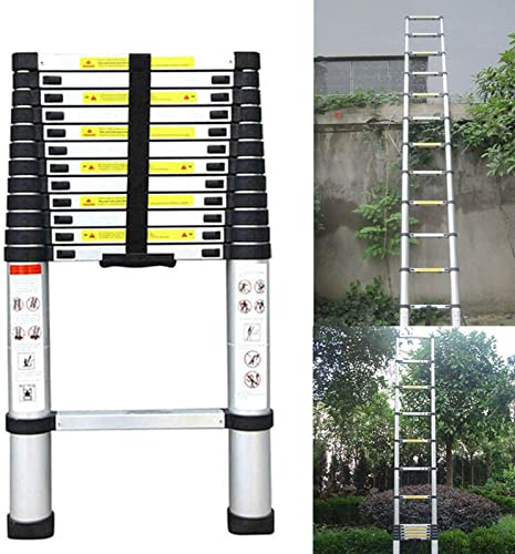 high quality 12.5ft Aluminum Telescoping Extension Ladder Multi-Purpose online sale 330lbs Max Capacity Anti-Slip Rubber Feet EN131 Certificated Lightweight Portable Ladder for Home Office Attic RV wholesale Work sale