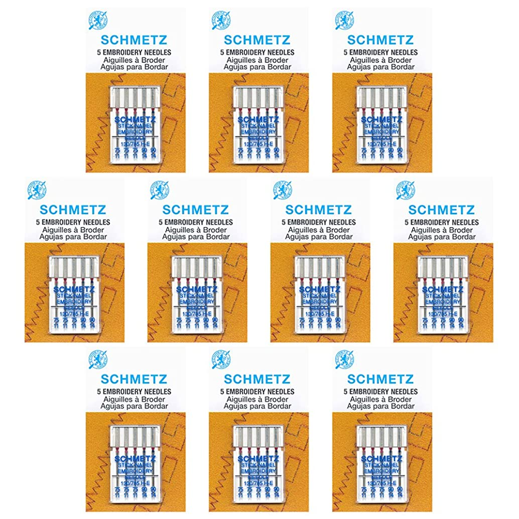 50 Schmetz?Embroidery Sewing Machine Needles - Assorted sizes - Box of 10 cards