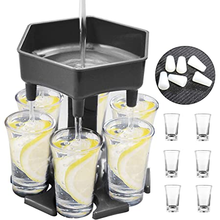 Drink Dispenser with Game Dice Liquor Dispenser with 6 Colorful Glasses 6 Shot Glass Dispenser and Holder Perfect Gift for Friends Drinking Game Dispenser for Cocktail Party