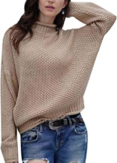 Women Casual Classic Solid Color Long Sleeve Warm Turtleneck Knitted Pullover Sweaters Top
