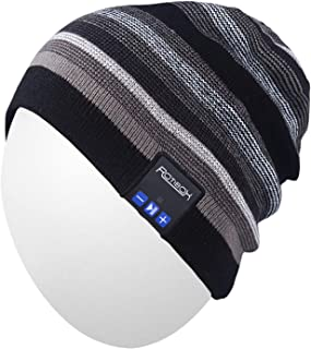 Mens Womens Outdoor Sports Music Beanie Hat with Stereo Speaker Headphones Microphone Hands Free and Rechargeable Battery for Cell Phones, iPhone, iPad, Tablets, Android Cellphones