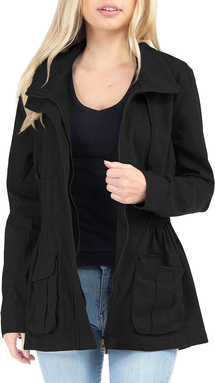 Women's Lightweight Long Sleeve Lapel Jacket Casual Zipper Coat with Pockets Outerwear Windbreaker