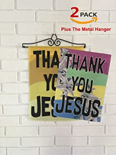Brotherhood Thank You Jesus Sign Flags - Two Thank You Jesus Flags with Small Garden Flag Holder