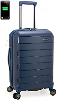 Traveler's Choice Pagosa Indestructible Hardshell Expandable Spinner Luggage, Navy, Carry-on 22-Inch