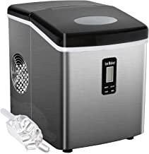 Bossin Countertop Ice Maker PortableIce MakingMachine-BulletIce Cubes Ready in 6Mins - Makes 33 lbs Ice in 24 hrs - Perfect for Home/Office/Bar2 Qt. Water Tank, (High-end Stainless Steel)