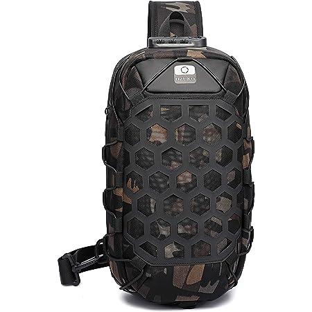 FANDARE Herren Brusttasche Diebstahlsicherung Sling Rucksack Casual Daypacks mit USB für Schultertasche Umhängetasche für Outdoor Sport Wandern Radfahren Reisen Wasserdicht Stoßfest Crossbody Bag