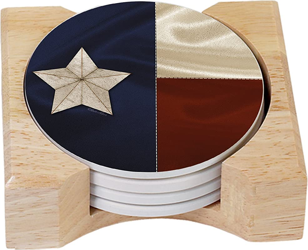 CounterArt Texas Flag Design Absorbent Coasters In Wooden Holder Set Of 4