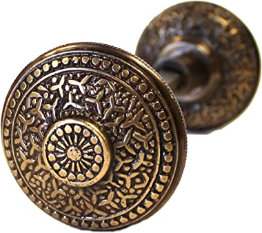 Rice Bronze Finish Vintage Brass Beaded Victorian Arts and Crafts Door Knob Pair