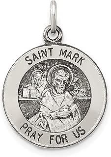 Sterling Silver Antiqued Saint Mark Medal 20x15mm