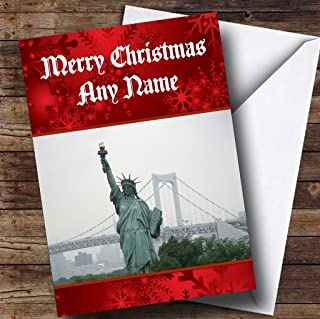 New York Statue Of Liberty Personalized Christmas Holiday Greetings Card