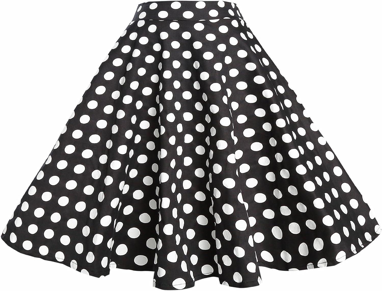 BI.TENCON Women Vintage Skirt Smock Waist Rockabilly Swing Casual Party Skirts