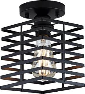 Square Cage Ceiling Light, Motent Industrial Vintage Wire Cage Pendant Light Shade Black Metal Semi Flush Mount Ceiling Lamp Fixture Creative Hollow Out Chandelier for Balcony Hall Loft