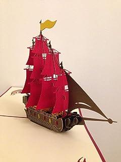 BC Worldwide Ltd Carta pop-up 3D fatta a mano, corazzata spagnola Armada Galleon, barche a vela, carta di buon compleanno,...