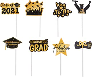 TOYANDONA 72pcs Grad 2021 Cake Topper Glitter Graduation Cake Topper Grad Cake Topper Class of 2021 Graduate Party Decorat...