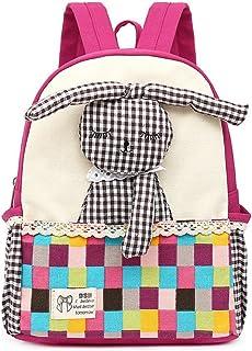 Mochila para niños bebés Mochilas para niños con Conejo Mascotas para guardería Niños (Rosa Roja)