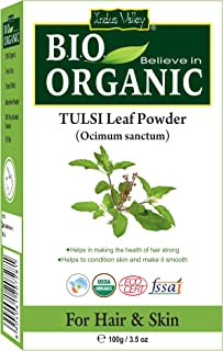Indus Valley Tulsi Powder For Dark Shiny Hair nourishment And Glowing Skin