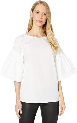 Flutter Sleeve Cotton Poplin Top
