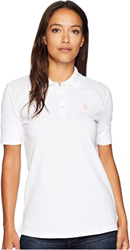 Short Sleeve Lace Yoke Solid Stretch Pique Polo Shirt
