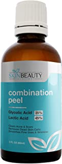 GLYCOLIC 35% / LACTIC 45% Combination Acid Skin Chemical Peel Unbuffered - Alpha Hydroxy (AHA) for Acne, Oily Sk (15 ml Roll-on) (2 oz / 60 ml)