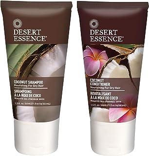 Desert Essence Coconut Shampoo & Conditioner Travel Size Bundle - 1.5 Fl Ounce - Nourishing For Dry Hair - Moisturizing - ...