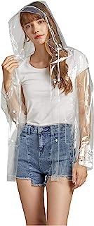 Freesmily Women Clear Raincoat EVA Waterproof Rain Jacket Coat with DetachableHood