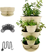 Amazing Creation Stackable Planter Vertical Garden for Growing Strawberries, Herbs, Flowers, Vegetables and Succulents| Indoor/Outdoor 5 Tier Gardening Tower| Hanging Planter (Off-White)