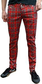 Fuzzdandy Uomo o Donna Aderente in Tartan Punk MOD Pantaloni a Tubo/Aderenti Pantaloni Jeans - Rosso Scozzese, 30 Waist x ...