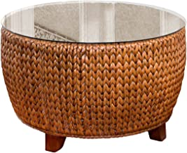 Alexander & Sheridan KEY025-SI Key Largo Round Cocktail Table in Sienna Finish with Glass
